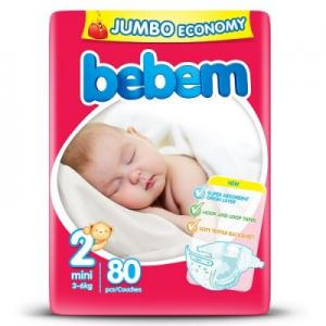 71b02fbc4290 Bebem Подгузники детские (2) mini 3-6 кг JUMBO PACK 80 шт. уп.  (8690536803903)